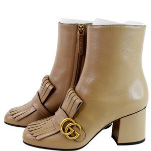 Gucci GG Marmont Fringed Leather Ankle Boots Taupe